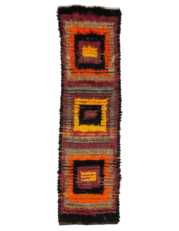 "Decorative Vintage Unique Tulu Rug - 3`2"" x 11`2"""