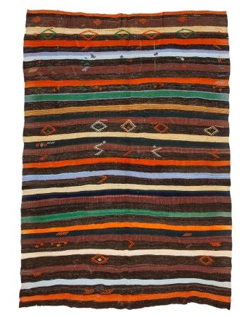 "Stripoed Vintage Decorative Kilim Rug - 6`11"" x 8`10"""