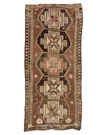 "Brown Decorative Vintage Turkish Kilim Rug - 5`9"" x 12`6"""