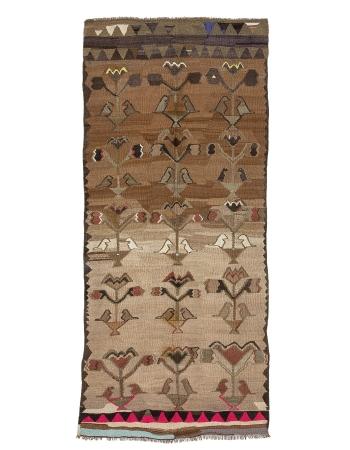 """Brown & Pink Vintage Turkish Kilim Rug - 5`3"""" x 12`1"""""""