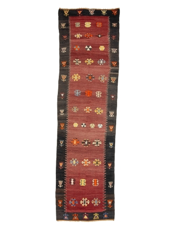 "Vintage Decorative Turkish Kilim Runner - 3`5"" x 12`2"""