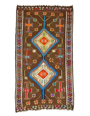 """Colorful Vintage Turkish Kars Kilim Rug - 5`8"""" x 10`1"""""""