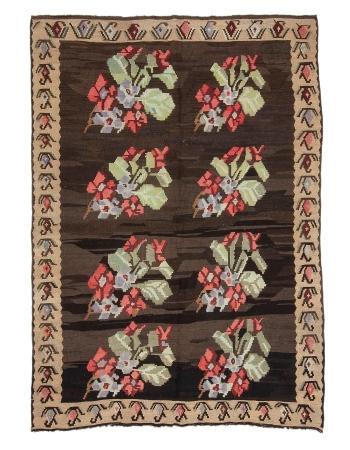 """Floral Vintage Turkish Kars Kilim Rug - 5`10"""" x 8`3"""""""
