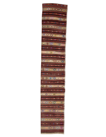 "Vintage Decorative Kilim Runner - 2`8"" x 13`9"""