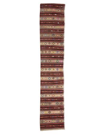 "Decorative Vintage Turkish Kilim Runner - 2`6"" x 13`0"""
