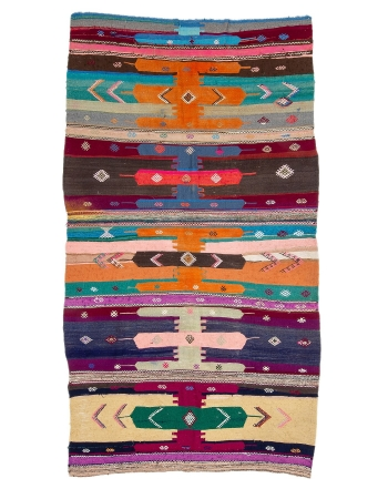 "Colorful Unique Vintage Turkish Kilim Rug - 5`3"" x 9`5"""