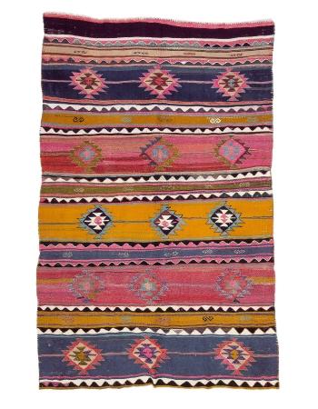 """Vintage Colorful Turkish Kilim Rug - 5`8"""" x 8`10"""""""