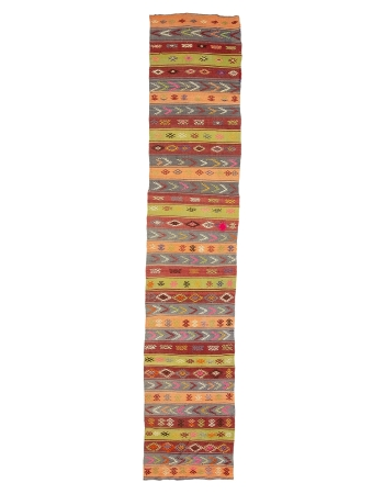 "Vintage Embroidered Turkish Kilim Runner - 2`3"" x 11`4"""