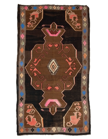 "Decorative Vintage Turkish Kars Kilim Rug - 6`11"" x 12`9"""