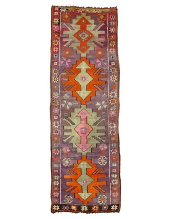 "Purple & Orange Vintage Kilim Runner  - 3`4"" x 10`4"""