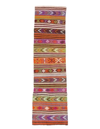 "Colorful Embroidered Vintage Kilim Runner - 2`4"" x 9`2"""