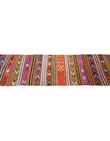 "Vintage Colorful Turkish Kilim Runner - 2`6"" x 9`0"""