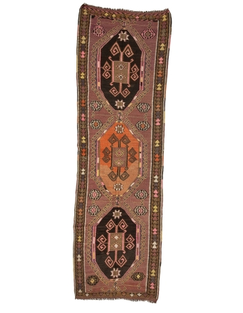 "Wide Unique Vintage Turkish Kilim Runner - 4`5"" x 13`9"""