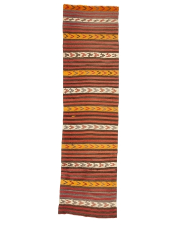 "Vintage Striped Red & Yellow Kilim Runner  - 2`7"" x 9`10"""