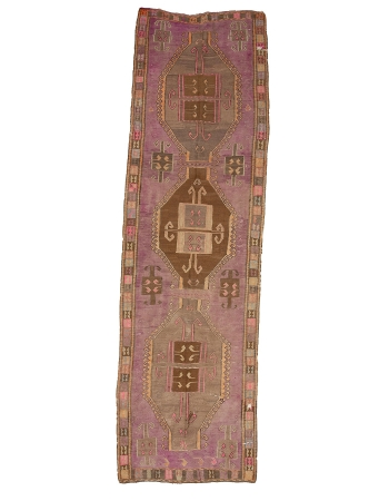 "Purple Vintage Decorative Kilim Rug - 4`7"" x 15`3"""