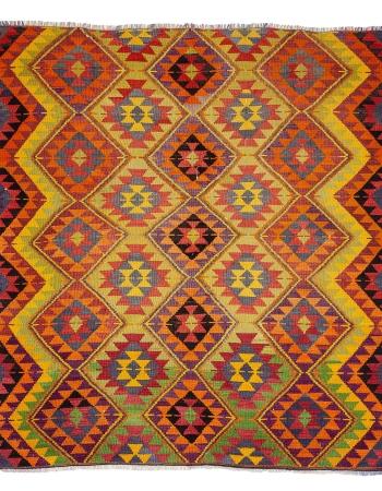 "Square Vintage Colorful Kilim Rug - 8`2"" x 9`1"""