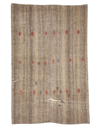 "Brown & Gray Vintage Modern Kilim - 6`4"" x 9`6"""