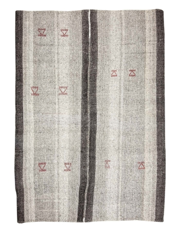 "Gray & Black Vintage Kilim Rug - 7`3"" x 10`0"""