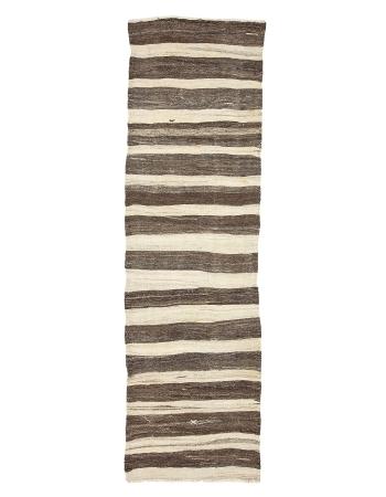 """Ivory & Brown Vintage Kilim Runner Rug - 3`0"""" x 10`4"""""""