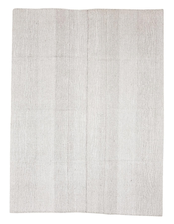 "Light Gray Vintage Modern Kilim Rug - 6`11"" x 9`3"""