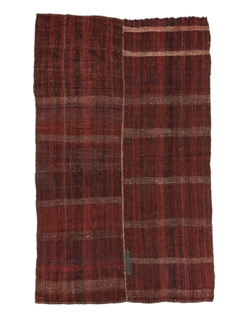 "Burgundy Vintage Turkish Kilim Rug - 6`0"" x 9`10"""