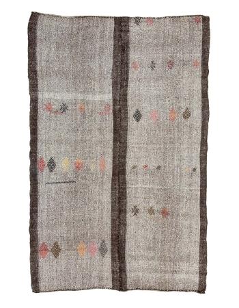 """Gray & Brown Vintage Kilim Rug - 6`7"""" x 10`2"""""""