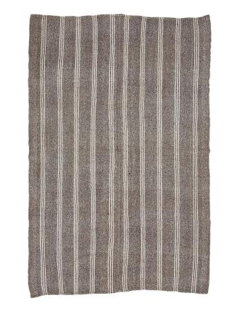 "Gray & White Striped Vintage Kilim Rug - 6`11"" x 10`6"""