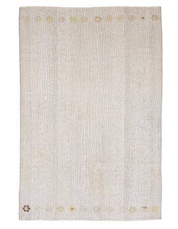 "Vintage Light Gray Modern Kilim Rug - 6`2"" x 9`4"""
