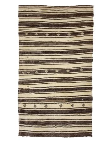 """Cream & Dark Brown Vintage Kilim Rug - 7`1"""" x 13`0"""""""