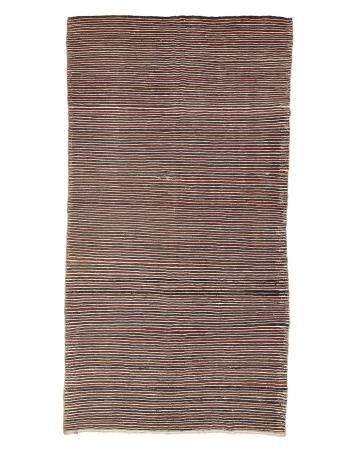 """Red & Brown Striped Vintage Kilim Rug - 6`4"""" x 11`10"""""""