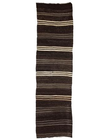 "Goat Hair Vintage Kilim Runner Rug - 3`10"" x 13`7"""