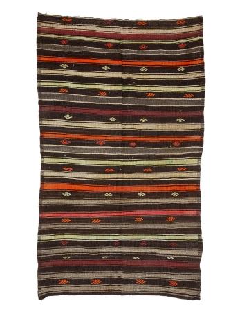 """Orange & Brown Vintage Kilim Rug - 6`1"""" x 10`0"""""""