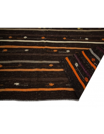 "Orange & Brown Goat Hair Vintage Kilim - 7`5"" x 9`6"""