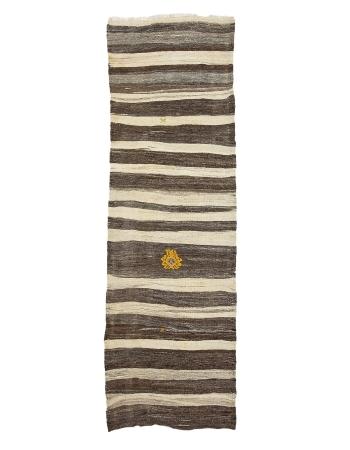 "Ivory & Brown Striped Vintage Kilim Runner - 3`1"" x 9`9"""