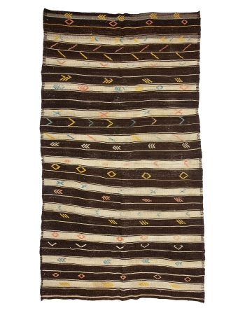 "Brown & Ivory Striped Goat Hair Kilim Rug - 6`4"" x 10`10"""