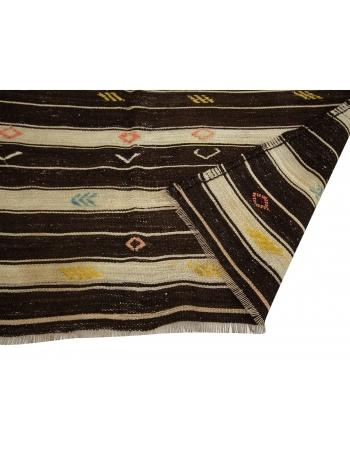 "Brown & Ivory Striped Goat Hair Kilim Rug - 6`4"" x 10`10"""