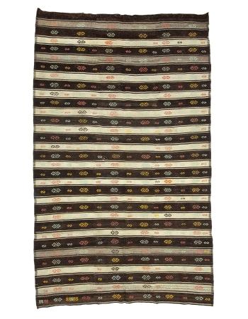"""Brown & Ivory Vintage Striped Kilim Rug - 6`8"""" x 10`10"""""""