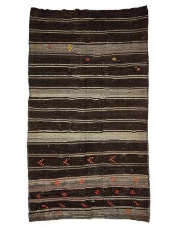 """Brown & Gray Vintage Goat Hair Kilim Rug - 6`4"""" x 11`2"""""""