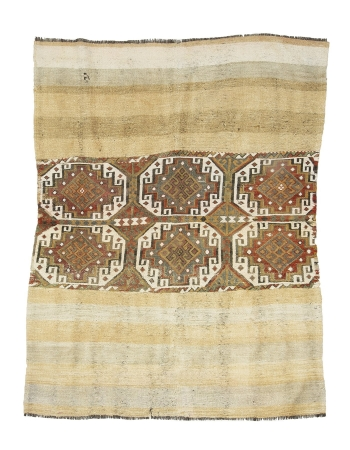 "Vintage Decorative Turkish Marash Kilim - 4`8"" x 6`1"""