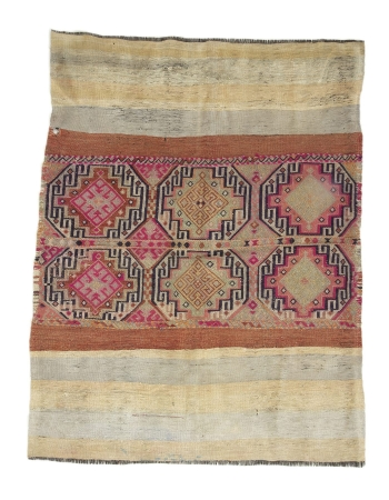 """Decorative Vintage Turkish Kilim Rug - 4`6"""" x 5`9"""""""