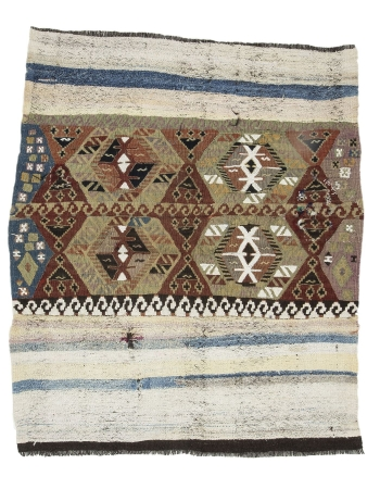 "Unique Decorative Vintage Small Kilim Rug - 4`10"" x 5`9"""
