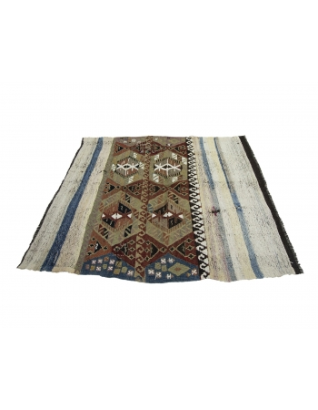 "Unique Decorative Vintage Small Kilim Rug - 4`10"" x 5`9"""