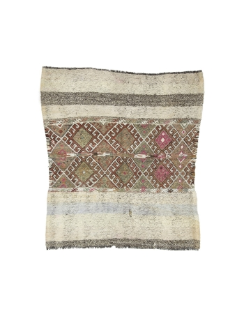 "Vintage Small Decorative Marash Kilim Rug - 4`11"" x 5`5"""