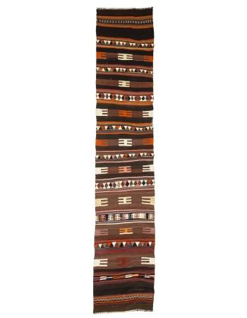 "Vintage Decorative Turkish Kilim Runner - 2`9"" x 14`5"""