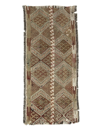 "Embroidered Small Vintage Kilim Rug - 2`0"" x 4`7"""