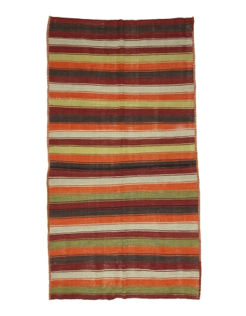 "Colorful Striped Vintage Kilim Rug - 5`3"" x 9`8"""