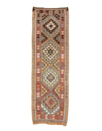 "Vintage Handwoven Decorative Kilim Runner - 3`3"" x 9`10"""