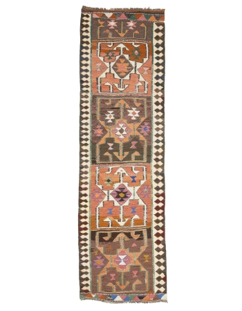 "Decorative Vintage Turkish Kilim Runner - 3`2"" x 10`4"""