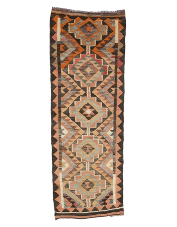 "Vintage Decorative Kilim Runner - 3`2"" x 8`10"""