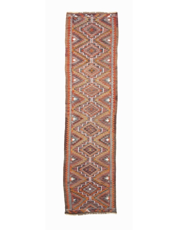 "Handwoven Vintage Kilim Runner Rug - 2`11"" x 10`10"""